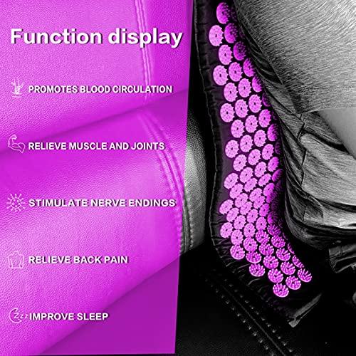 Akupressurmatte mit Kissen,Multifunktionales Massagematten-Set,2 mit Stacheln versehene Massagekugeln,Muskel Roller Stick zur Linderung von Rücken/Nacken Muskelentspannung (Aubergine)