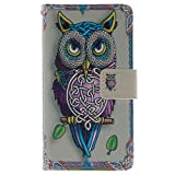 Dushang Fashion Folio PU Leather Stand Flip Wallet Shell Cover Case for Samsung Galaxy S4 Galaxy S IV Galaxy SIV i9500 with Credit Card Holder Sent Free Stylus Pen (Elegant Colorful Owl)