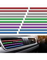 20 Pieces Car Vent Outlet Trim Car Interior Moulding Trim Car Air Conditioner Vent Outlet Trim Chrome PVC Car Interior Trim Vent Outlet Trim Decoration Strip for All Straight