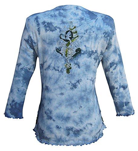 Nature Art Women Floral V Neck Crystal Tie Dye Top Vintage Blue Plus Size 1X