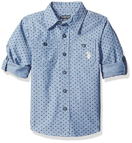 Chambray Blue Clothing (U.S. Polo Assn. Big Boy's Long Sleeve Chambray Sport Shirt, Blue-SIEHB, 10/12)