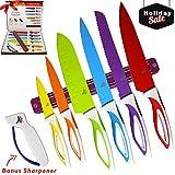 ken sharp bowie - Color Knife Set - Top Stainless Steel Knife Set - Gift Set in Box by LeDish™ - Includes Chef, Bread, Slicer, Santoku, Utility, Paring Knife - PLUS Magnetic Strip and Professional Sharpener