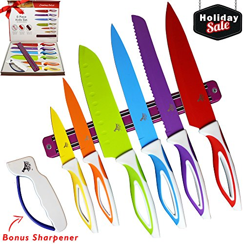 Color Knife Set - Top Stainless Steel Knife Set - Gift Set in Box by LeDish™ - Includes Chef, Bread, Slicer, Santoku, Utility, Paring Knife - PLUS Magnetic Strip and Professional Sharpener (Steel Strips Blue)