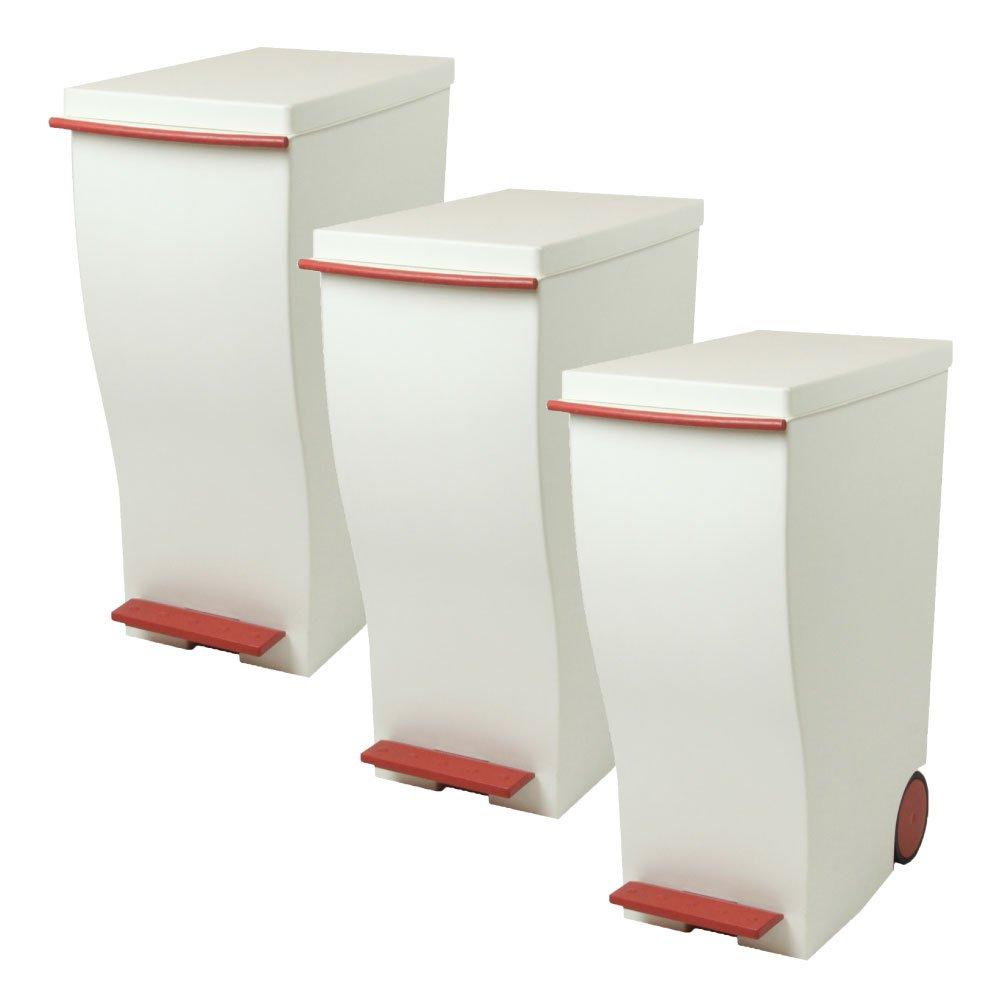 岩谷マテリアル kcud 30 スリムペダル 3個セット ゴミ箱 ごみ箱 ダストボックス おしゃれ ふた付き クード (レッド×レッド×レッド) B0742C5BN3 レッド×レッド×レッド レッド×レッド×レッド