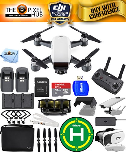 DJI Spark Fly More Combo EXTREME ACCESSORY BUNDLE With Landing Pad, 32GB Micro SD Card Plus Much More (Alpine White)