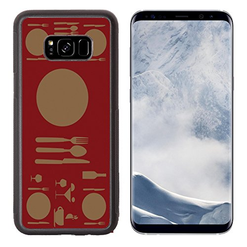 - Luxlady Samsung Galaxy S8 Plus S8+ Aluminum Backplate Bumper Snap Case IMAGE ID: 25353090 menu design over red background vector illustration