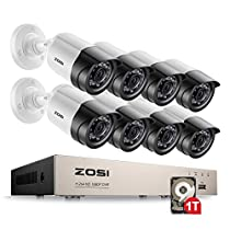 ZOSI 8CH Full 1080P HD-TVI Video Security System DVR Recorder with 8 Weatherproof 1920TVL 2.0MP 100ft Night Vision Surveillance Camera System 1TB Hard Drive