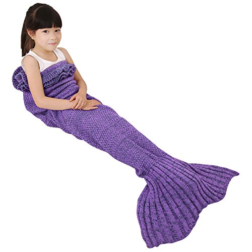 Check Out This Mermaid Tail Blanket, Elover Handmade Mermaid Blanket Crochet for Kids Children Girls...