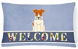 Caroline tesoros del alambre Fox Terrier Welcome lienzo tela almohada decorativa, 12x 16, multicolor