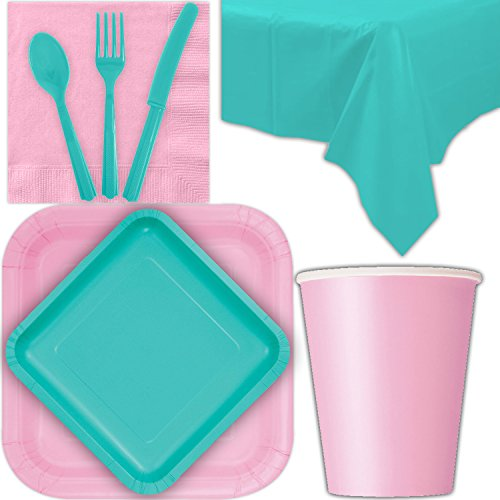 Disposable Party Supplies for 28 Guests - Lovely Pink and Caribbean Teal - Square Dinner Plates, Square Dessert Plates, Cups, Lunch Napkins, Cutlery, and Tablecloths: Premium Quality Tableware Set ()