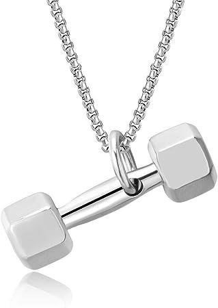 Haltère Gym Collier en acier inoxydable Sport Design Hommes Pendentifs Bijoux Cadeau