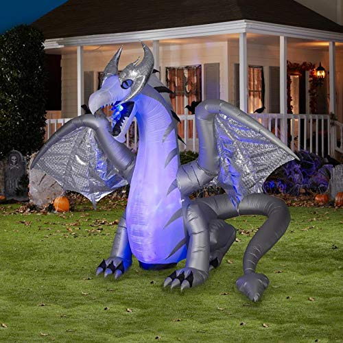 Gemmy 8.3 Ft. Inflatable Dragon - Silver and Purple