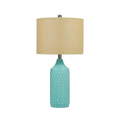 Catalina Lighting 19970-000 Modern Ceramic Table Lamp with Burlap Shade for Living, Family Room, Bedroom, Dorm, Office, 26.5 , Classic Aqua Blue