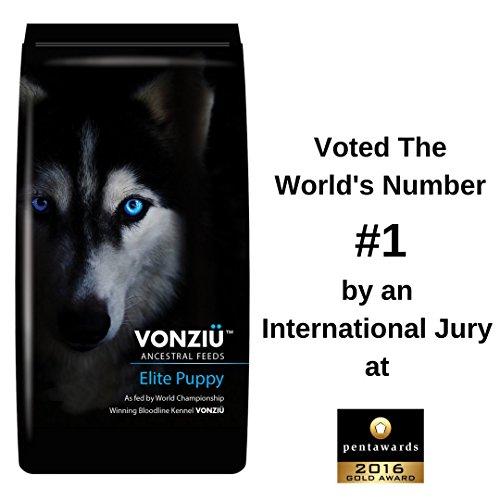 Vonziu Elite Premium Hundefutter / Welpenfutter - Hochenergetische Tiernahrung - Für kleine & große Hunderassen - Hypoallergen - Reich an Fischöl / Vitaminen / Mineralien - 100% Bio-Zutaten
