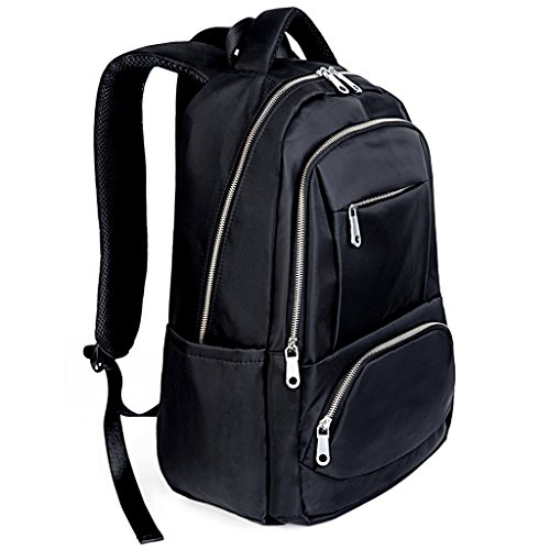 UTO Laptop Backpack Oxford Waterproof Cloth Nylon Unisex Rucksack School College Bookbag Travel Bag Shoulder Purse Black