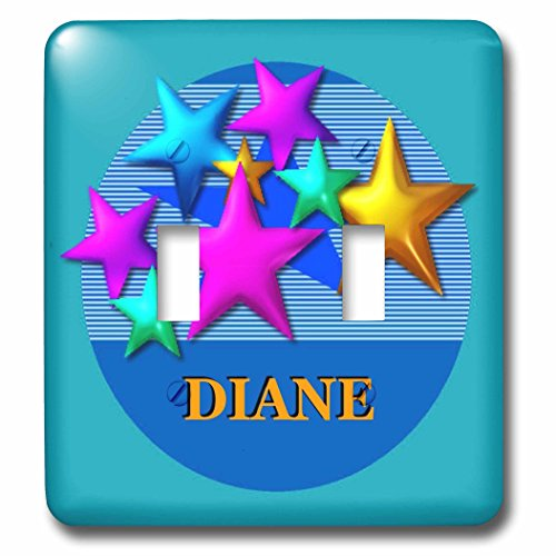 3dRose lsp_52952_2 Vibrant colored stars on a blue background personalized with the name Diane Toggle switch