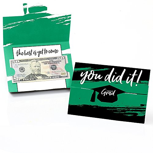 Green Grad - Best is Yet to Come - Green Graduation Party Money and Gift Card Holders - Set of 8 (Green Cards Dot)