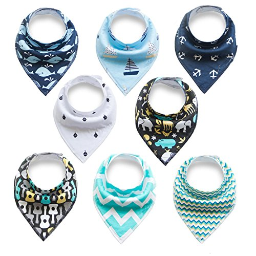 Baby Bandana Drool Bibs for Drooling and Teething, 100% Cotton Bandana Baby Bibs 8 Pack Gift Set For Boys & Girls, Absorbent Washable Comfortable and Adjustable Neckerchief (BC084)