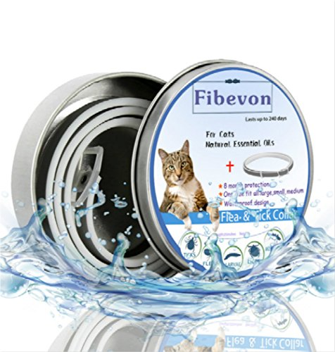 fibevon Flea and Tick Collar for Cats - Prevention and Control Fleas, Ticks and Pests for 8 Months - Hypoallergenic and Safe Design - 1 Size Fully Adjustable Waterproof Kitten Collar by fibevon