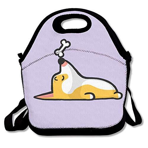 Lunch Bag, Large Lunch Bag, Thermos Fresh Lunch Bag For Men Women, Cute Funny Sleeping Corgi