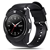 V8 Smart Watch, Padgene Sports Fitness Tracker Bluetooth Wrist Watch with SIM Card and TF Card Slot Camera Message Notification Sleep Monitor for Android&IOS (Black)