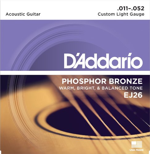 D'Addario EJ26 Phosphor Bronze Acoustic Guitar Strings, Custom Light, 11-52 Custom Acoustic Guitar