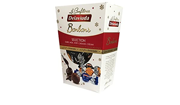 Dark, Milk and Caramel Cream. 40 pieces. 14.10 Oz. Surtido De Chocolates Negro Amargo, Con Leche y Dulce De Leche. 40 Bombones. 400g. Product Of Spain.