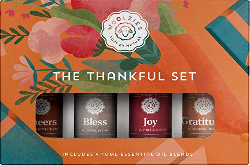 Woolzies Thankful Collection Set of 4 Therapeutic Grade Essential Oil – Cheers, Bless, Joy, Gratitude – 10 ML