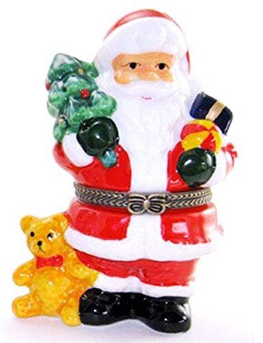 Hinged Santa Box (Art Gifts Santa Claus Bear Xmas Tree Hinged Trinket Box phb)
