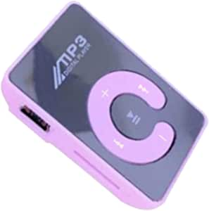 KESOTO MP3 Player Compact and Portable Music Media Player with Fashion Clip Mirror MP3 for Sport Runing Earbud Headphones for SD TF Card - Pink