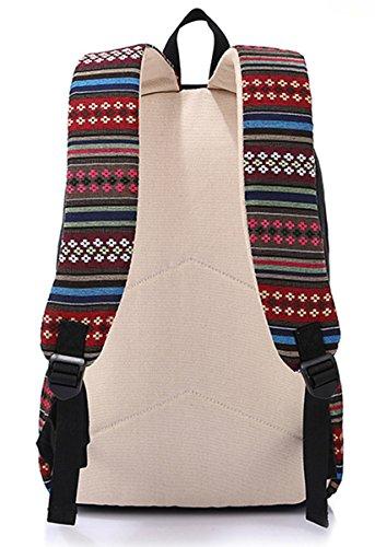 Panegy Damen Mädchen Mode Design Rucksack Ethnischen Stil Canvas Rucksack Schulrucksack für Schüler Freizeit Outdoor Sport Wanderrucksack - Hellblau Khaki