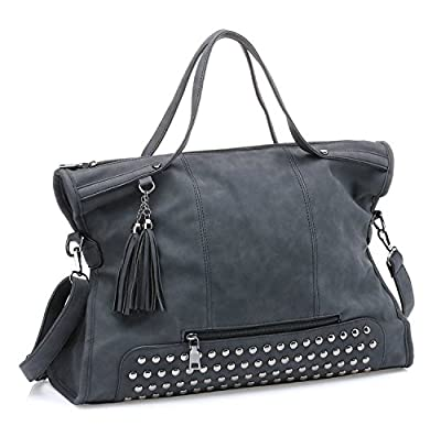Mn&Sue Punk Motorcycle Rivet Studded Tassel Leather Women Handbags Top Handle Satchel Shoulder Tote Bag