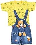 Kuchipoo Baby Boys Dungaree Set (KUC-DUN-124, Blue & Yellow, 2-3 Years)