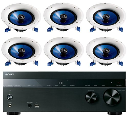 Sony-52-Channel-725-Watt-4K-AV-Home-Theater-Receiver-Yamaha-High-Performance-Moisture-Resistant-Natural-2-Way-140-watts-Surround-Sound-in-ceiling-Speaker-System-Set-Of-6