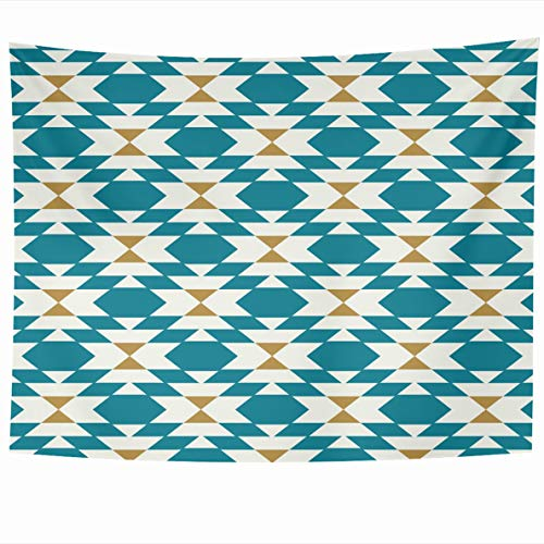 Ahawoso Tapestry 80 x 60 Inches Abstract Kilim Geo Teal Pattern Geometric Gold Graphic Line Modern Home Decor Wall Hanging Tapestries for Living Room Bedroom Dorm
