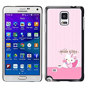 CASEMAX Slim Hard Case Cover Armor Shell FOR Samsung Galaxy Note 4 - PINK HELLO CAT CUTE