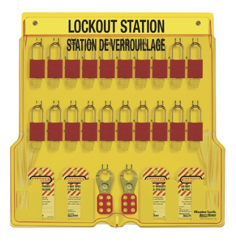 Master Lock French/English 20-Padlock Capacity Lockout Station with Cover, Includes 20 Aluminum ()