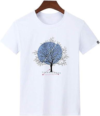 Camiseta de Manga Corta para Hombre de algodón Suelta con Cuello Redondo y Estampado Casual de Primavera y Verano Media Manga: Amazon.es: Ropa y accesorios
