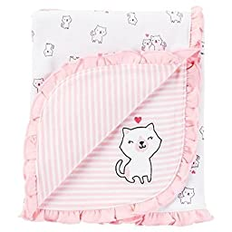 Carter\'s Just One You Baby Girls\' Kitty Cat Receiving Blanket – Pink
