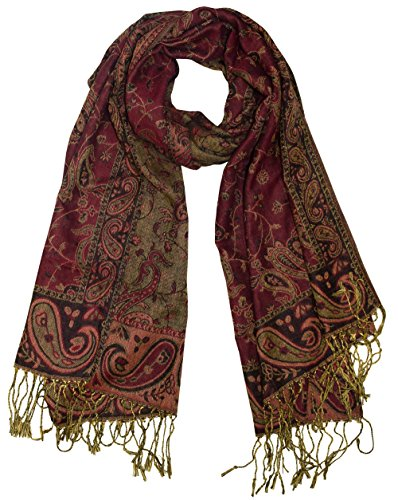 - Peach Couture Elegant Double Layer Reversible Paisley Pashmina Shawl Wrap Scarf Maroon