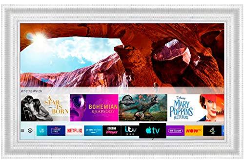 Framed Mirror TV with Samsung 43 inch 4K Ultra HD HDR Smart LED TV TVPlus. White Leaf Frame