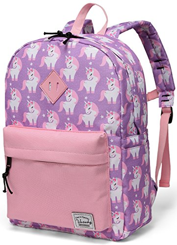 Vaschy Backpack for Little Girls, Preschool Backpacks for kindergarten with Chest Strap Pink Unicorn