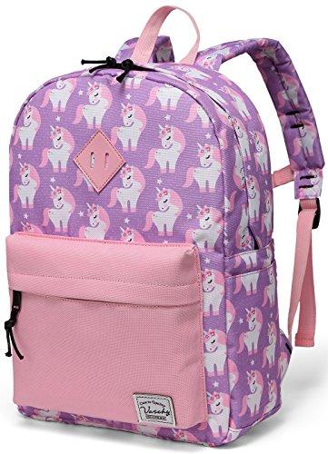Vaschy Backpack for Little Girls, Preschool Backpacks for kindergarten with Chest Strap Pink Unicorn