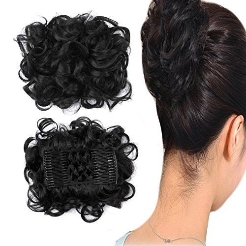 FOCUSSEXY Short Messy Curly Hair Scrunchie Bun Piece Up Do Drawstring Ponytail Hair Extensions Easy Strech Chignon Comb Clip Dark Black