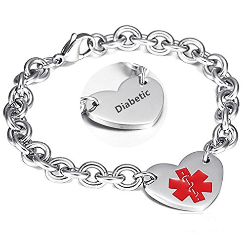 LF 316L Stainless Steel Diabetes Engraved Medical Alert Heart Charm Link Bracelet Rolo Chain Medic ID Bracelets Monitoring Awareness for Womens for Outdoor Emergency ()