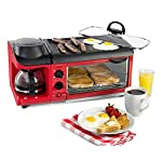 Nostalgia BSET300RETRORED 3-in-1 Family Size Breakfast Station, Red