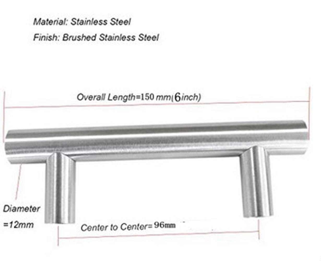 12mm Stainless Steel Kitchen Cabinet Handles T Bar Pull (6'' Overall Length,3.8'' Hole Centers) by Wang-Data (Image #2)
