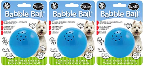 Pet Qwerks 3 Pack of Talking Babble Balls, Medium, Interactive Dog Toy, Wisecracks and Makes Funny Sounds When Touched ()