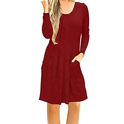 8dc56cb9f27 Image Unavailable. Image not available for. Color  Londony CLEARANCE  Women s Long Sleeve Floral Lace Patchwork Swing Tunic Dress ...