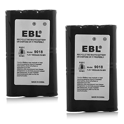 EBL HNN9018 High Capacity 1800mAh Two-Way Radio Batteries Replacement Battery for Motorola Radius Radio CP50 HNN9018 HNN9018AR HNN9018A HNN9018B, 2 Packs Batteries Combo by EBL